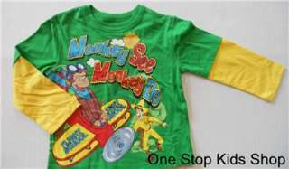 CURIOUS GEORGE Boys 2T 3T 4T 5T Long Sleeve SHIRT Top MONKEY Airplane