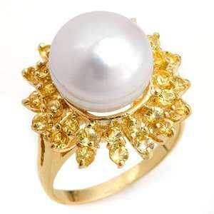 Genuine 1.50 ctw Yellow Sapphire & Pearl Ring 10K Yellow Gold Jewelry