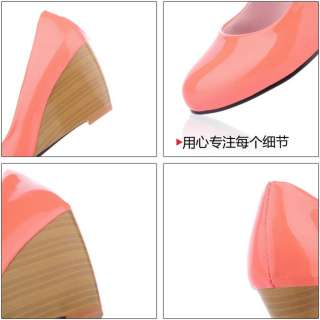 Toe Wedge Womens Shoes Patent Leather High Heels Cute Pumps Q70
