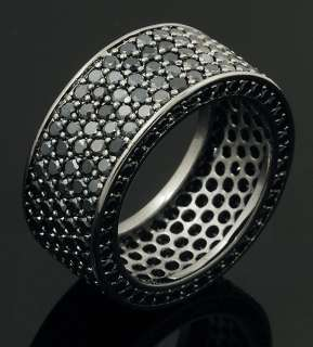 Rhodium Plated Micropave Bling Hip Hop Iced Out Band Ring Size 7 12