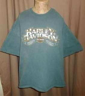 HARLEY DAVIDSON T Shirt DAVENPORT IOWA Vintage TEAL Motorcycle BIKER