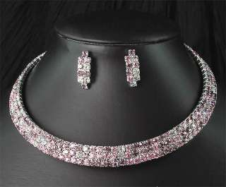 Bridal Bridesmaids Crystal Choker Necklace Earrings Set