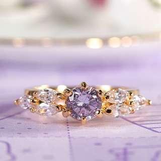 SALE Round Cut 18K Gold Plated Tanzanite Purple Fashion Jewelry Lady