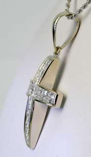 SET PRINCESS DIAMOND 14K WG CROSS PENDANT ROPE CHAIN NECKLACE