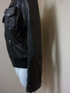 Michael Kors Womens Leather Motorcycle Jacket Coat Black Zipper Knit M