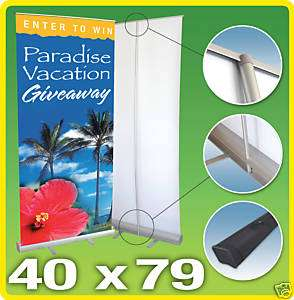 WIDE Retractable Roll Up Banner Stand, 40 x 79