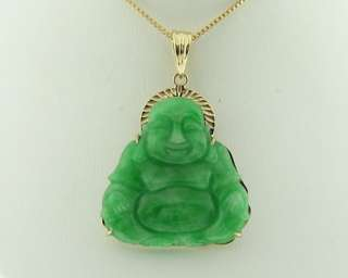 Estate Happy Buddha Green Jade Solid 18k Gold Pendant