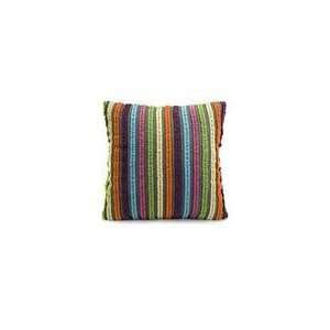 18 Bright Multi Colored Striped Square Cotton Pillow