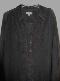 Coldwater creek Womens Black Ruffle silk shirt Blouse tunic plus size