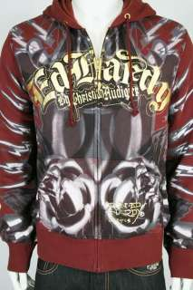 New Ed Hardy Panther Rose Rhinestone Hoodie Jacket