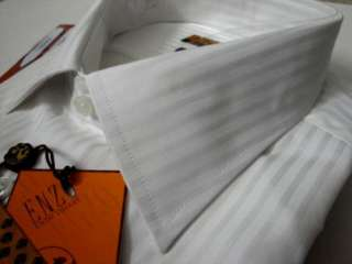 ENZO MENS ITALY SHIRT WHITE TONE STRIPES L 16 32 33
