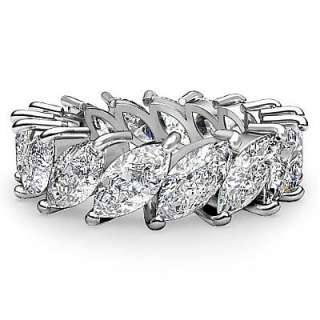 3ct Marquise New Diamond Wedding Eternity Band 14k White Gold sz6.25