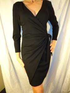 NWT DVF Diane Von Furstenberg LIPPE solid black wrap dress 8