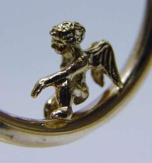 with Wings 14K Gold Hoops Earrings 5.3g 1.25 Estate Jewelry
