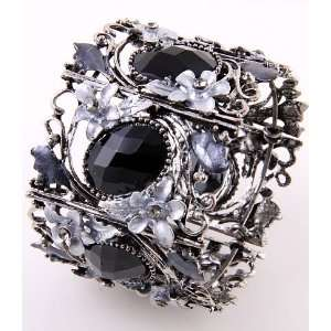 Fashion Jewelry Antique Metal Black Rhinestone Acrylic Jewelry Flower