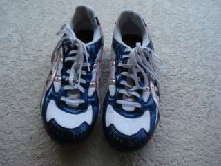 MENS SIZE 12 ASICS RED, WHITE & BLUE TRACK/FIELD SHOES