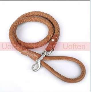 High Quality Braid Leather Pet Dog Training Leash Rope