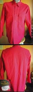 Vtg Deerskin Red Cotton Flannel Mens Winter Hunting Shirt MEDIUM USA M