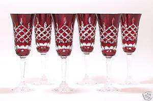 Champagne Flutes Ruby Red Crystal Glasses Diamond Cut