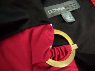 DONNA RICCO Black & Cream VNeck Stretch Satin Cocktail Versitile Dress