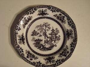 Antique T. Walker Flow Black Mulberry Flow Blue Plate