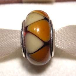 AUTHENTIC PANDORA Sterling Silver Amber Murano Glass CAPTIVATING