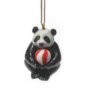 PANDA BEAR Cub holds Red/White BALL Christmas Ornament New