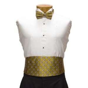 & Bow Tie Set   Louisiana State University Gold Cummerbund Set