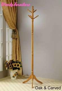 Hooks Cherry / Oak Finish Stand Hall Tree Wood Coat Rack