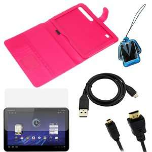 GTMax Hot Pink Durable Leather Cover Wallet Case + Clear
