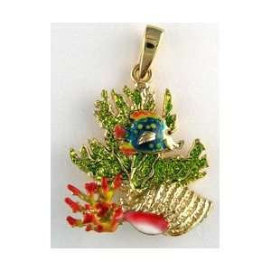 Reyes del Mar 14K Gold Coral with Small Fish Nautical
