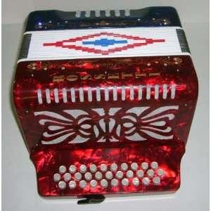Rossetti 31 Button Accordion 12 Bass Tri Color Red White