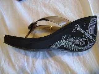 NEW Carlos Santana Totem Black Wedge Flip Flops size 8