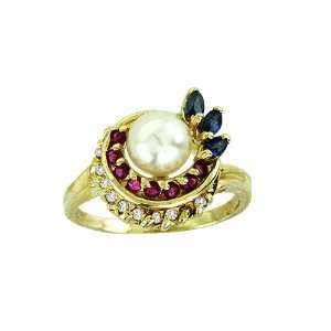 Diamond Ruby, Emerald & Pearl Ring 14K Yellow Gold Jewelry