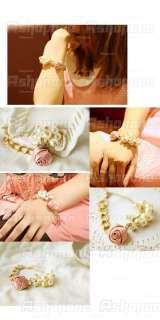HOT Fashion Pink Bud Rose Flower Pearl Tassel Bracelet Gift