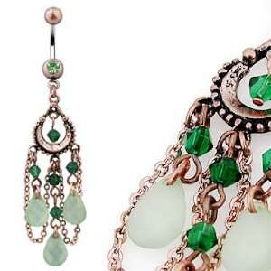 Vintage Navel Ring with Peridot Beads 3 pear Shaped Jade Light Green