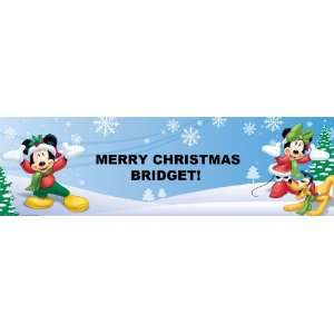 Disney Christmas Mickey / Minnie   Personalized Banner Large 30 x 100
