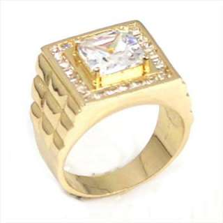 Fashionable Man 18K Rose Gold Plated White Rhinestone Ring