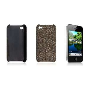Gino Textured Gold Tone Black Case Cover for iPhone 4 4G