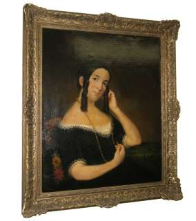 Antique American Female Portrait Oil Painting
