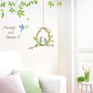 Wall Decor Removable Decal Sticker   Love Birds Under Green Vine Baby