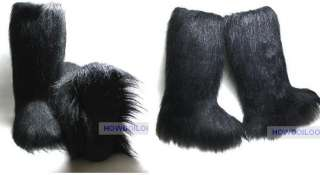 ESKIMO FAUX LONG FUR FURRY YETI BOOTS BLACK WHITE BROWN WINTER SNOW