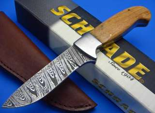 Schrade Custom Hunter Damascus Style Etch Fixed Blade Hunting Skinning