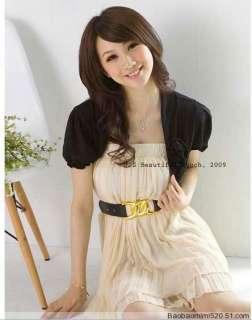 NEW Knit Shrug Puff Short sleeve Bolero Dress Cropped Open Cardigan