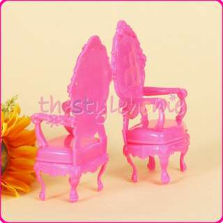 2x Pink Dollhouse Furniture Chairs for Barbie easy install sturdy Doll