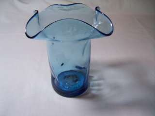 Vtg Art Glass Vase Hand Blown Light Blue Vase Pinched