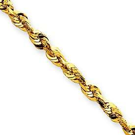 14K Gold Diamond Cut Rope Chain , Necklace , Anklet , Bracelet w
