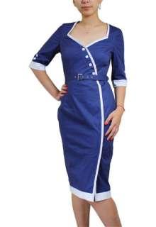 Navy Blue Pin Up Rockabilly Vintage Style Pencil Dress L/XL