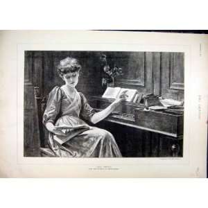 com Woman Piano Music 1890 Book Thoughfull Old Print Home & Kitchen