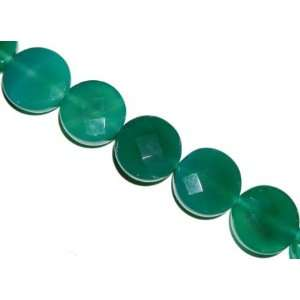 Green chalcedony faceted coin gemstone beads, 21x21mm, sold per 16